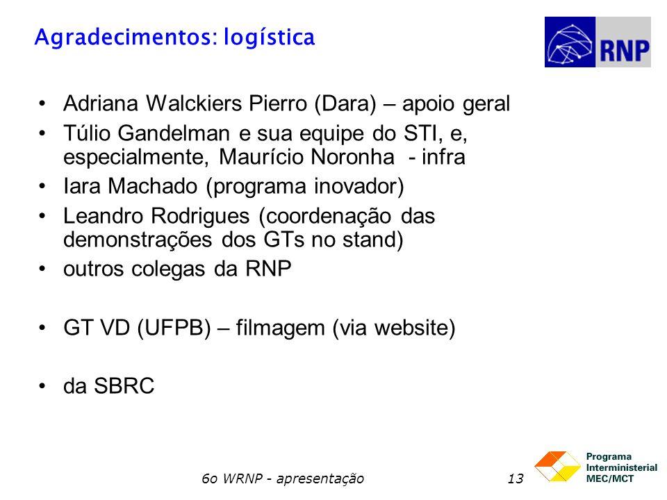 6o WRNP - apresentação13 Agradecimentos: logística Adriana Walckiers Pierro (Dara) – apoio geral Túlio Gandelman e sua equipe do STI, e, especialmente