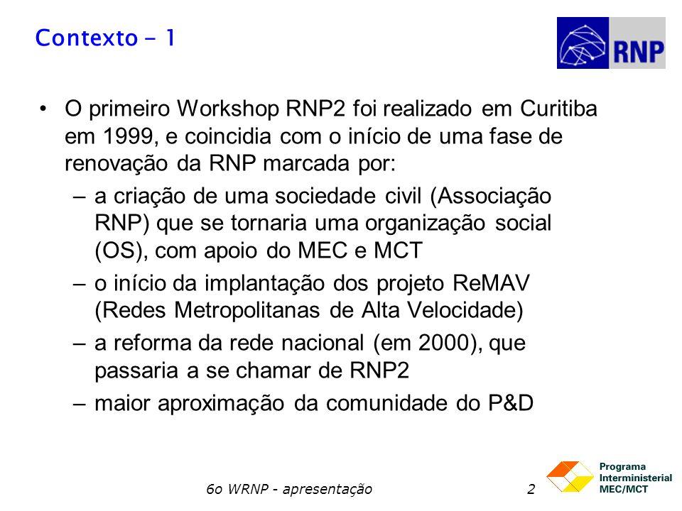 6o WRNP - apresentação3 Contexto - 2 A partir de 2000, os workshops da RNP vêm sendo realizados junto com o SBRC: –2 o WRNP2 (2000)Belo Horizonte –3 o WRNP2 (2001) Florianópolis –4 o WRNP2 (2003) Natal –5 o WRNP2 (2004) Gramado –6 o WRNP (2005) Fortaleza este 7 o Workshop apresenta o ponto onde estamos