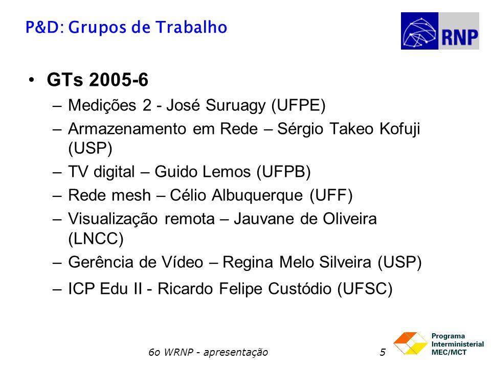 6o WRNP - apresentação5 P&D: Grupos de Trabalho GTs 2005-6 –Medições 2 - José Suruagy (UFPE) –Armazenamento em Rede – Sérgio Takeo Kofuji (USP) –TV di