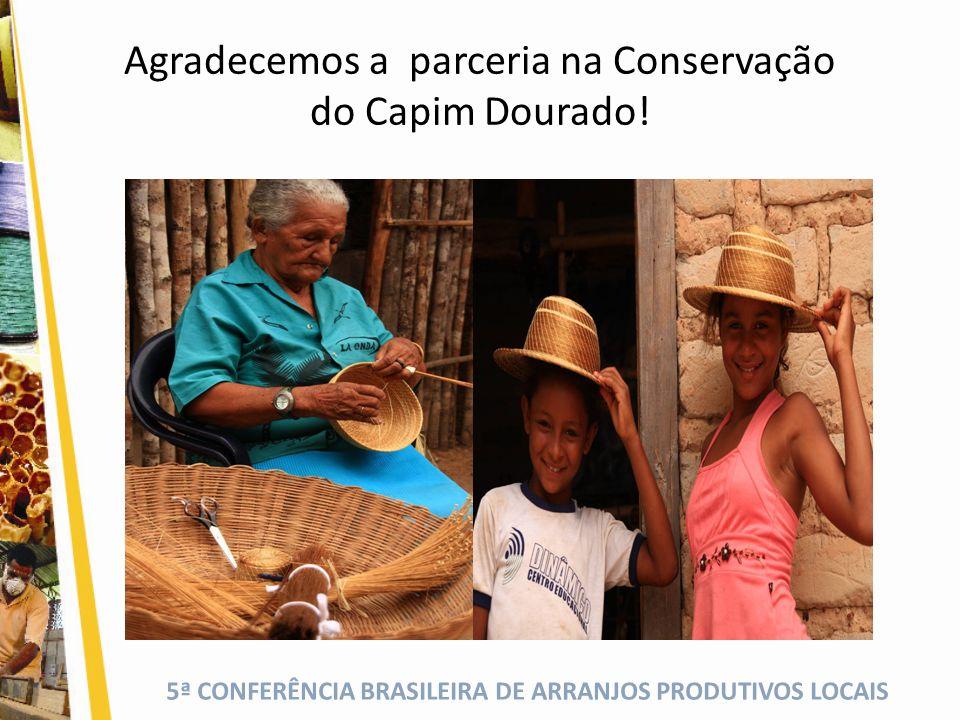 5ª CONFERÊNCIA BRASILEIRA DE ARRANJOS PRODUTIVOS LOCAIS Agradecemos a parceria na Conservação do Capim Dourado!
