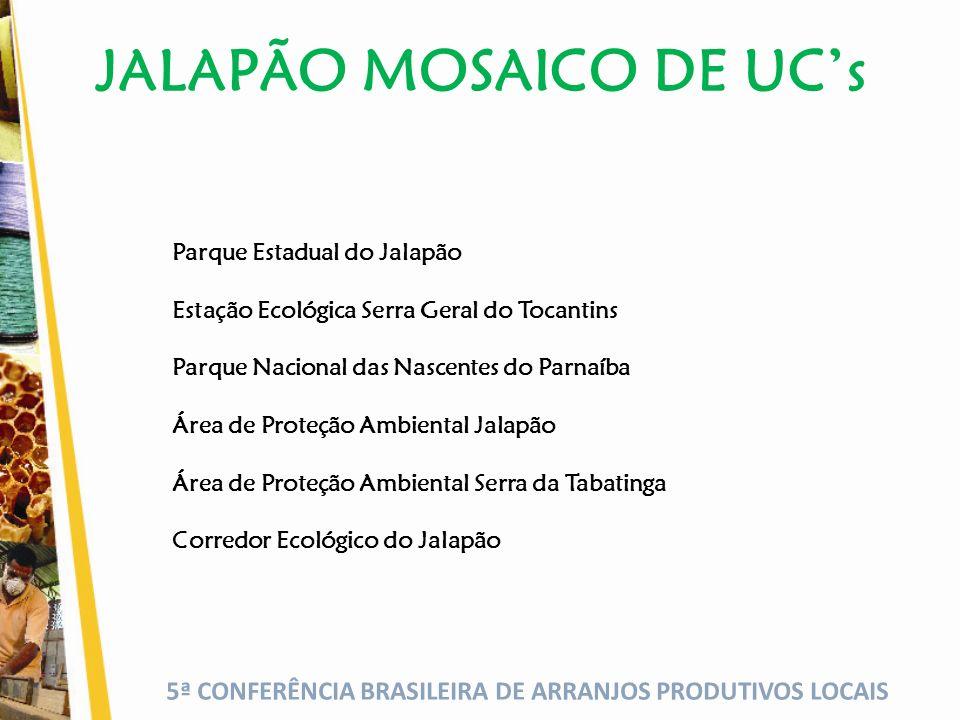 5ª CONFERÊNCIA BRASILEIRA DE ARRANJOS PRODUTIVOS LOCAIS JALAPÃO MOSAICO DE UCs Parque Estadual do Jalapão Estação Ecológica Serra Geral do Tocantins Parque Nacional das Nascentes do Parnaíba Área de Proteção Ambiental Jalapão Área de Proteção Ambiental Serra da Tabatinga Corredor Ecológico do Jalapão