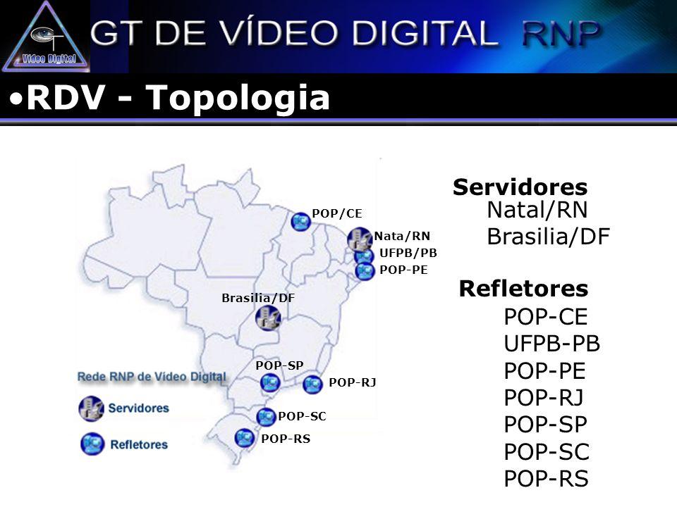 RDV - Topologia Servidores Natal/RN Brasilia/DF Refletores Brasilia/DF Nata/RN POP-CE UFPB-PB POP-PE POP-RJ POP-SP POP-SC POP-RS POP/CE UFPB/PB POP-PE