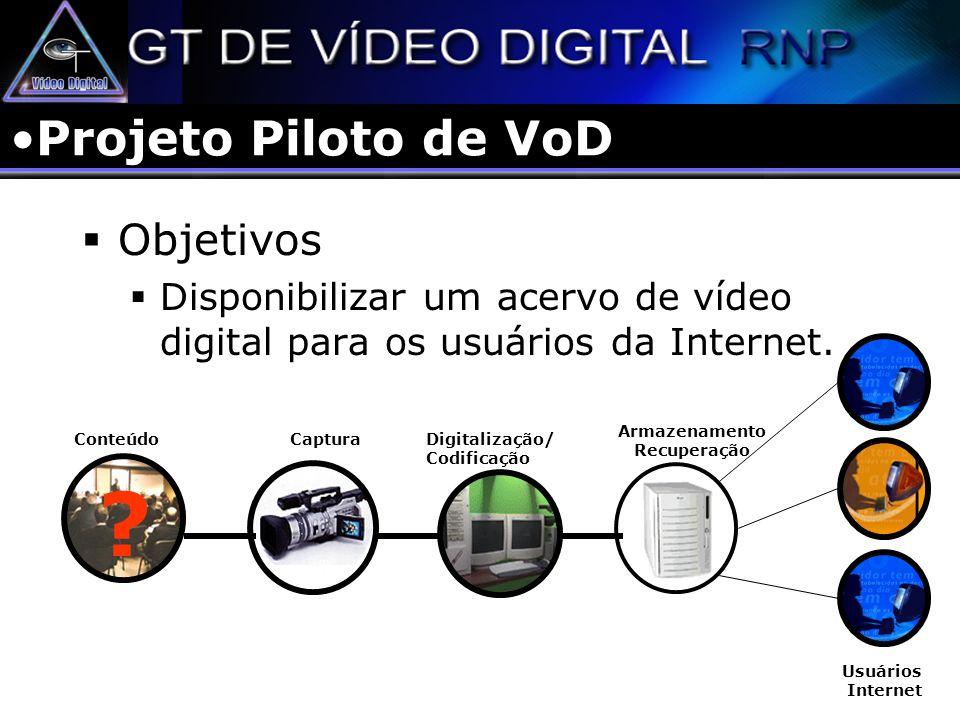 Projeto Piloto de VoD Objetivos Disponibilizar um acervo de vídeo digital para os usuários da Internet. Usuários Internet Digitalização/ Codificação C