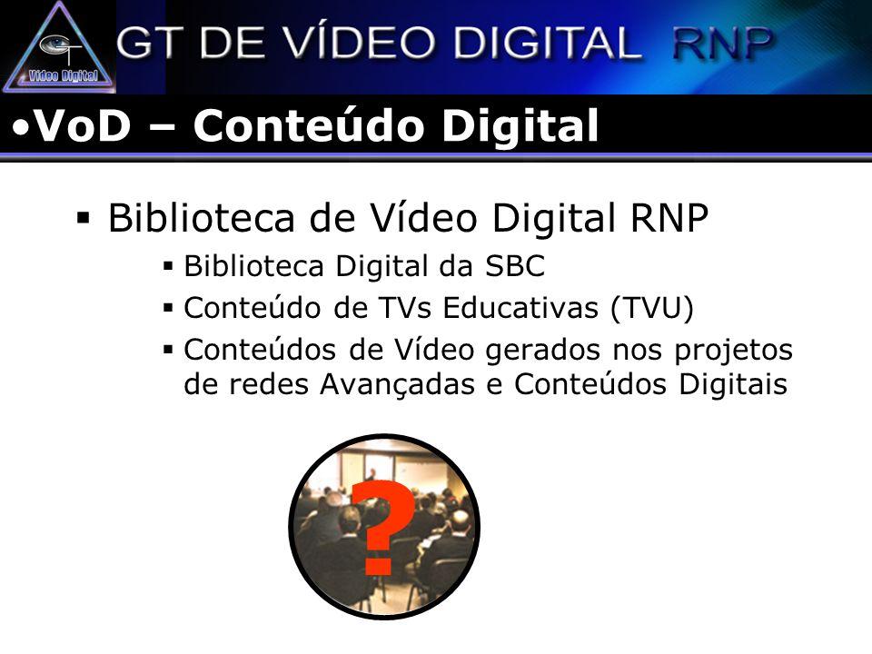 VoD – Conteúdo Digital Biblioteca de Vídeo Digital RNP Biblioteca Digital da SBC Conteúdo de TVs Educativas (TVU) Conteúdos de Vídeo gerados nos proje