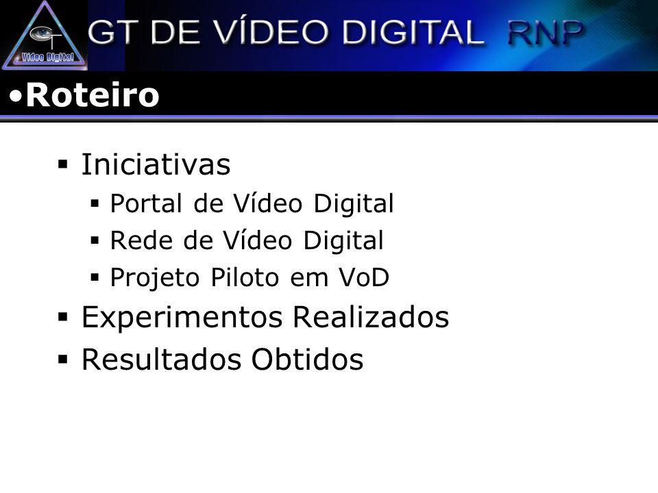 Iniciativas Portal de Vídeo Digital Informações Técnicas Projetos Experimentos Rede de Vídeo Digital Infraestrutura de Rede Servidores Equipamentos