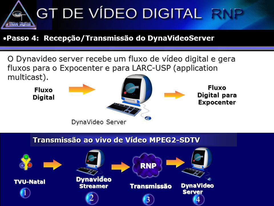 O Dynavideo server recebe um fluxo de vídeo digital e gera fluxos para o Expocenter e para LARC-USP (application multicast). TVU-Natal Transmissão ao