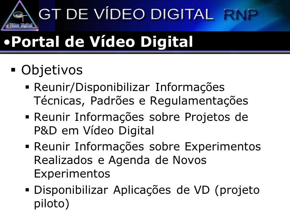 Portal de Vídeo Digital Objetivos Reunir/Disponibilizar Informações Técnicas, Padrões e Regulamentações Reunir Informações sobre Projetos de P&D em Ví