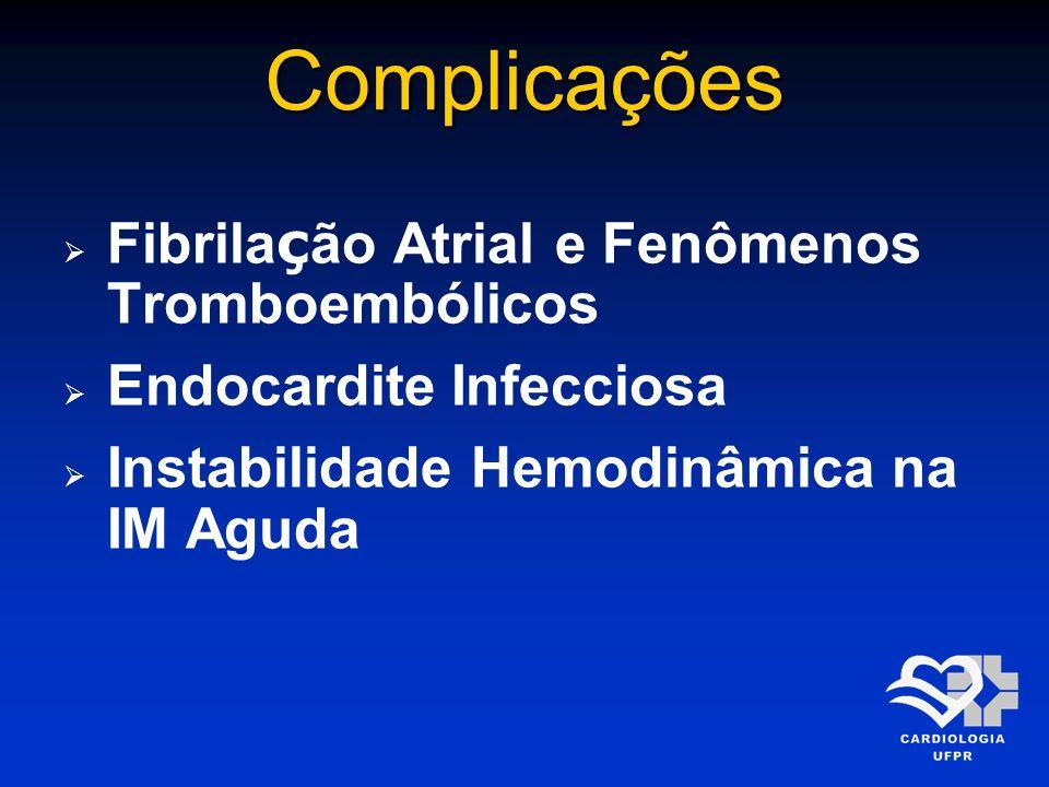 Complicações Fibrila ç ão Atrial e Fenômenos Tromboembólicos Endocardite Infecciosa Instabilidade Hemodinâmica na IM Aguda