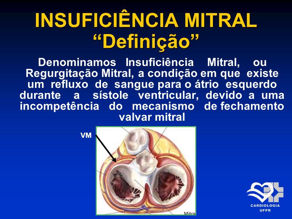 INSUFICIÊNCIA MITRAL Definição Denominamos Insuficiência Mitral, ou Regurgitação Mitral, a condição em que existe um refluxo de sangue para o átrio es