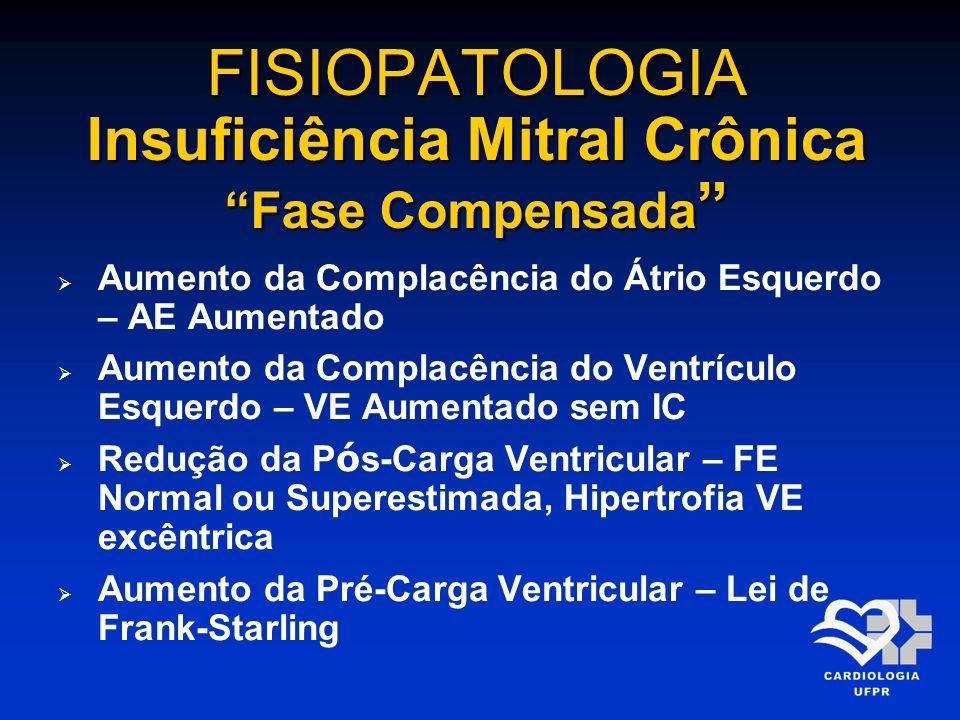 FISIOPATOLOGIA Insuficiência Mitral Crônica Fase Compensada FISIOPATOLOGIA Insuficiência Mitral Crônica Fase Compensada Aumento da Complacência do Átr
