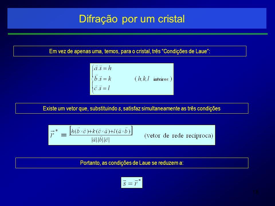 18 Difração por um cristal Em vez de apenas uma, temos, para o cristal, três Condições de Laue: Existe um vetor que, substituindo s, satisfaz simultan