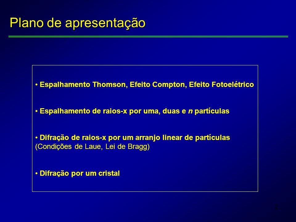 2 Plano de apresentação Espalhamento Thomson, Efeito Compton, Efeito Fotoelétrico Espalhamento de raios-x por uma, duas e n partículas Difração de rai