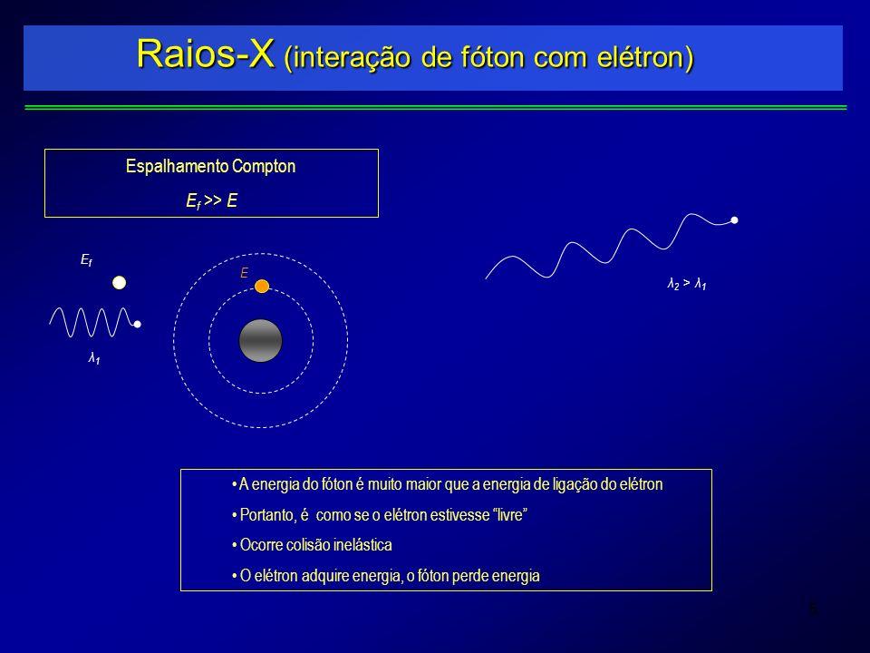 5 Raios-X (interação de fóton com elétron) EfEf E Espalhamento Compton E f >> E A energia do fóton é muito maior que a energia de ligação do elétron P