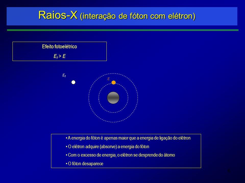 6 Raios-X (interação de fóton com elétron) EfEf E Efeito fotoelétrico E f > E A energia do fóton é apenas maior que a energia de ligação do elétron O
