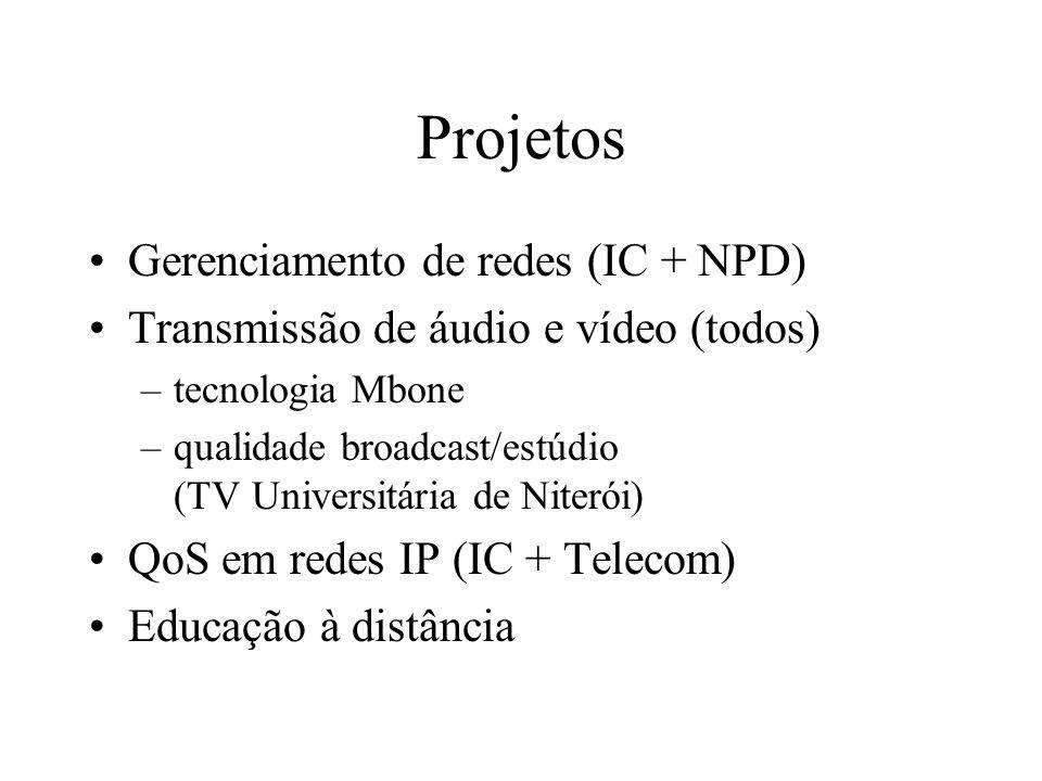 Projetos Gerenciamento de redes (IC + NPD) Transmissão de áudio e vídeo (todos) –tecnologia Mbone –qualidade broadcast/estúdio (TV Universitária de Ni