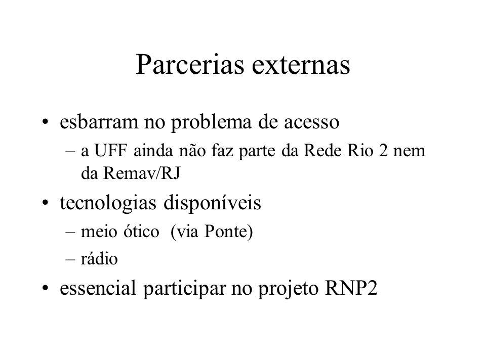 Parcerias externas esbarram no problema de acesso –a UFF ainda não faz parte da Rede Rio 2 nem da Remav/RJ tecnologias disponíveis –meio ótico (via Po