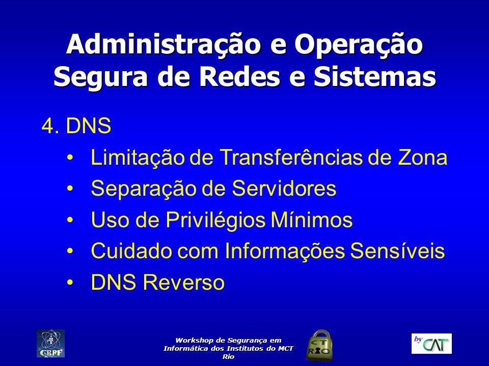Workshop de Segurança em Informática dos Institutos do MCT Rio Administração e Operação Segura de Redes e Sistemas 4. DNS Limitação de Transferências