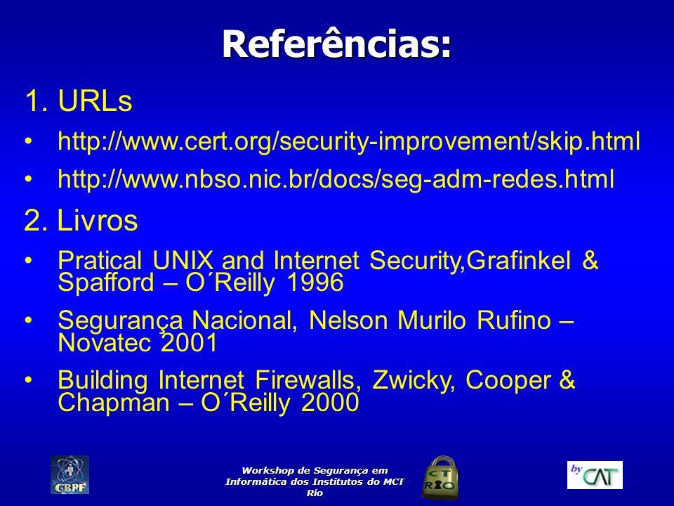 Workshop de Segurança em Informática dos Institutos do MCT Rio Referências: 1.URLs http://www.cert.org/security-improvement/skip.html http://www.nbso.