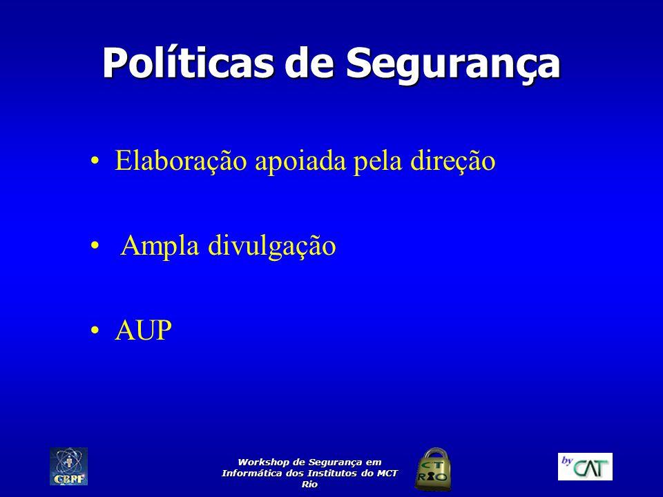 Workshop de Segurança em Informática dos Institutos do MCT Rio Políticas de Segurança Elaboração apoiada pela direção Ampla divulgação AUP