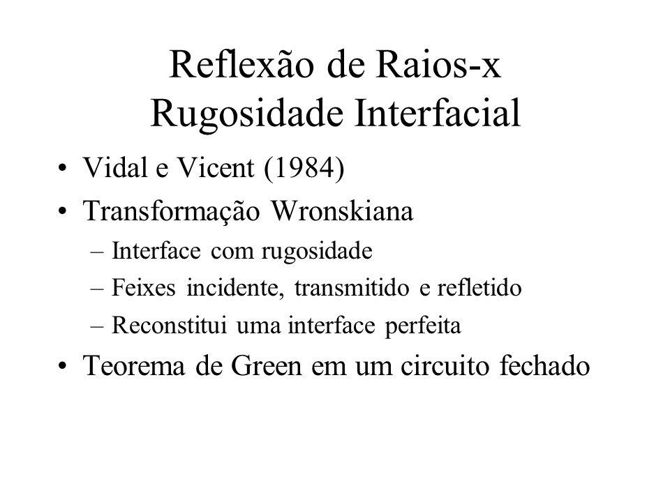 Reflexão de Raios-x Rugosidade Interfacial Vidal e Vicent (1984) Transformação Wronskiana –Interface com rugosidade –Feixes incidente, transmitido e r