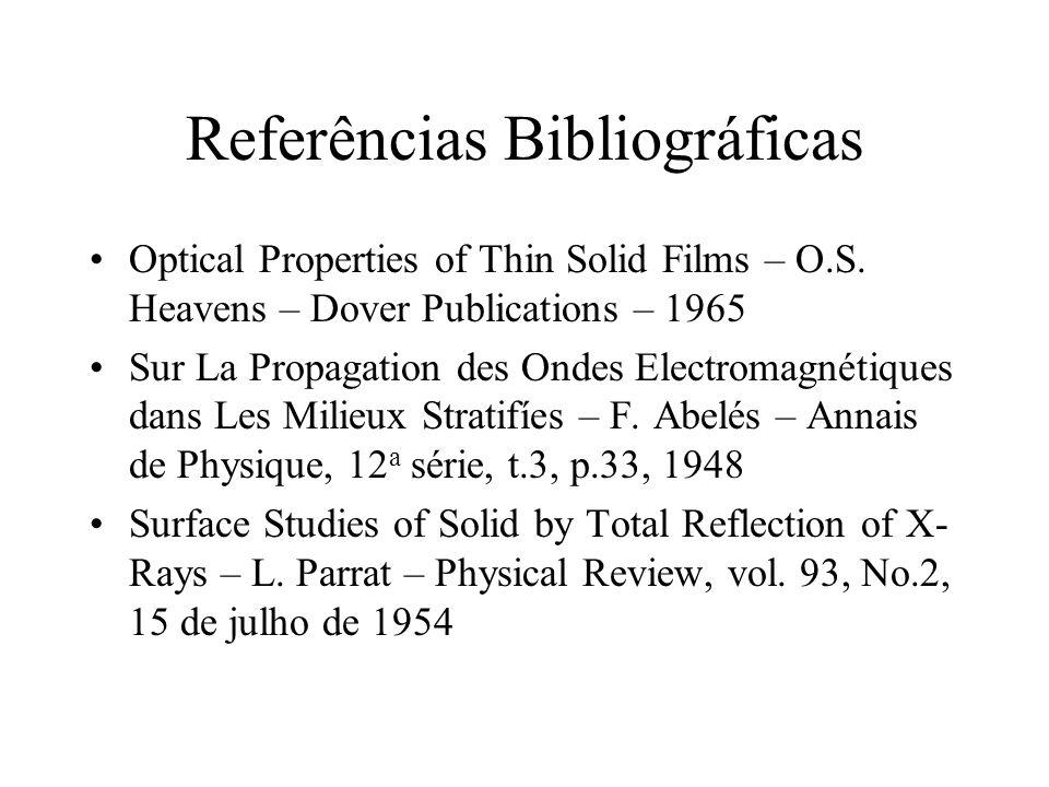 Referências Bibliográficas Optical Properties of Thin Solid Films – O.S. Heavens – Dover Publications – 1965 Sur La Propagation des Ondes Electromagné