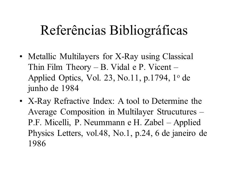 Referências Bibliográficas Metallic Multilayers for X-Ray using Classical Thin Film Theory – B. Vidal e P. Vicent – Applied Optics, Vol. 23, No.11, p.