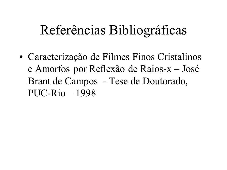 Referências Bibliográficas Caracterização de Filmes Finos Cristalinos e Amorfos por Reflexão de Raios-x – José Brant de Campos - Tese de Doutorado, PU