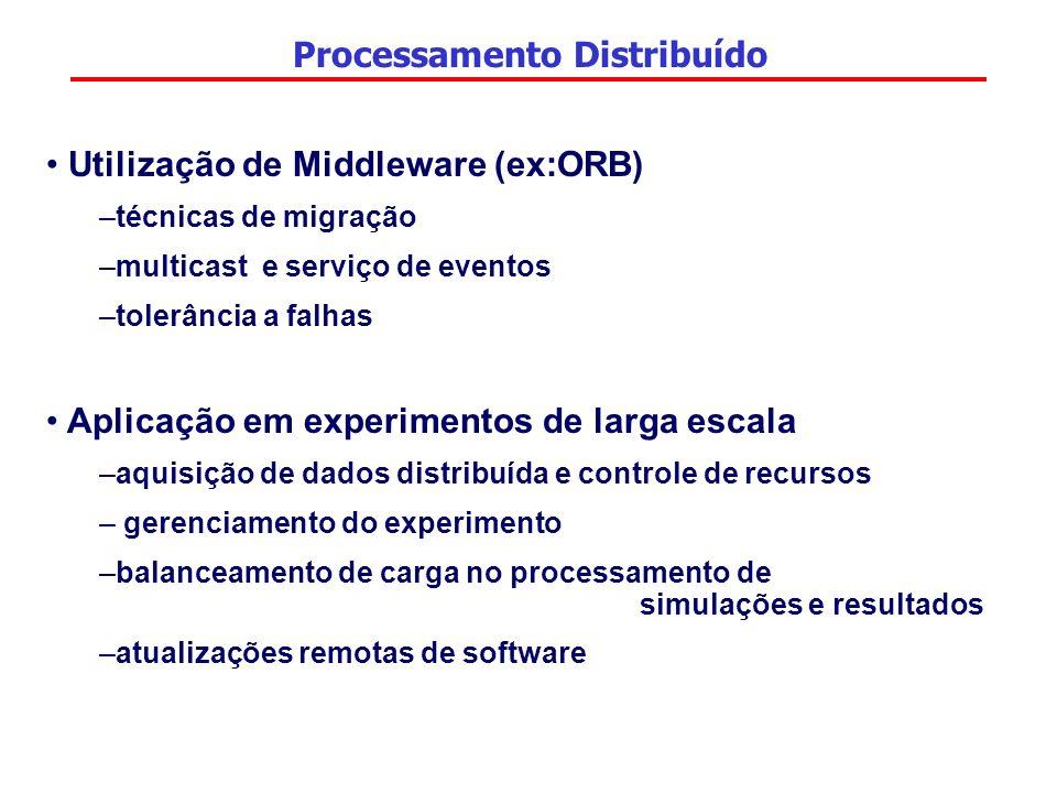 Processamento Distribuído Utilização de Middleware (ex:ORB) –técnicas de migração –multicast e serviço de eventos –tolerância a falhas Aplicação em ex