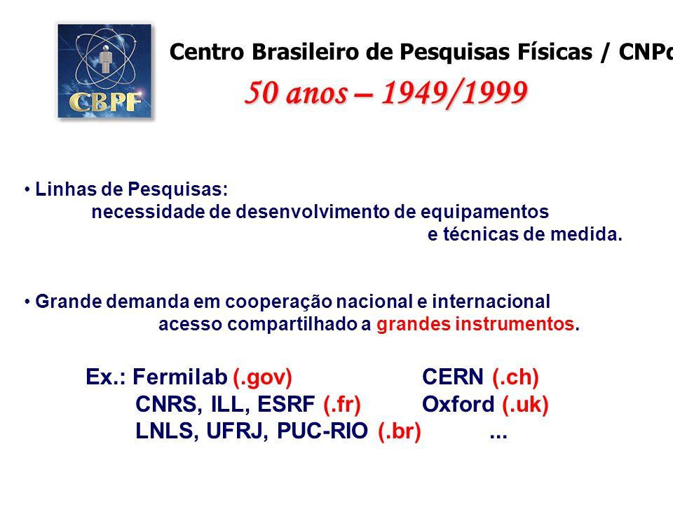 Grande demanda em cooperação nacional e internacional acesso compartilhado a grandes instrumentos. Centro Brasileiro de Pesquisas Físicas / CNPq Linha