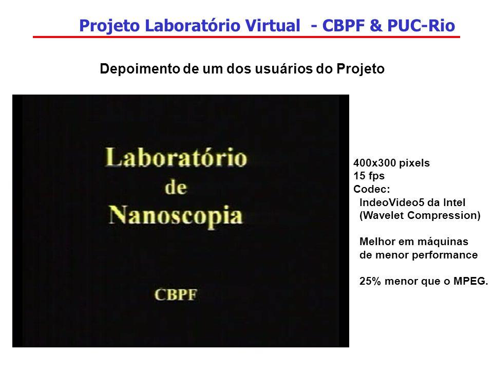 Projeto Laboratório Virtual - CBPF & PUC-Rio 400x300 pixels 15 fps Codec: IndeoVideo5 da Intel (Wavelet Compression) Melhor em máquinas de menor perfo