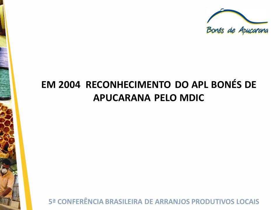 5ª CONFERÊNCIA BRASILEIRA DE ARRANJOS PRODUTIVOS LOCAIS EM 2004 RECONHECIMENTO DO APL BONÉS DE APUCARANA PELO MDIC