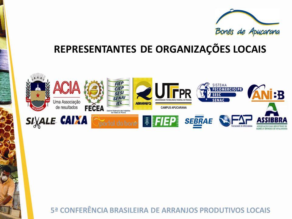 REPRESENTANTES DE ORGANIZAÇÕES LOCAIS