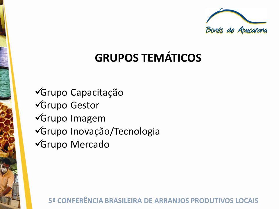 5ª CONFERÊNCIA BRASILEIRA DE ARRANJOS PRODUTIVOS LOCAIS GRUPOS TEMÁTICOS Grupo Capacitação Grupo Gestor Grupo Imagem Grupo Inovação/Tecnologia Grupo M