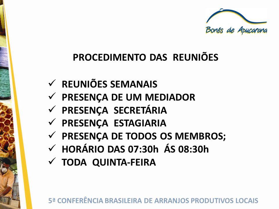 5ª CONFERÊNCIA BRASILEIRA DE ARRANJOS PRODUTIVOS LOCAIS PROCEDIMENTO DAS REUNIÕES REUNIÕES SEMANAIS PRESENÇA DE UM MEDIADOR PRESENÇA SECRETÁRIA PRESEN