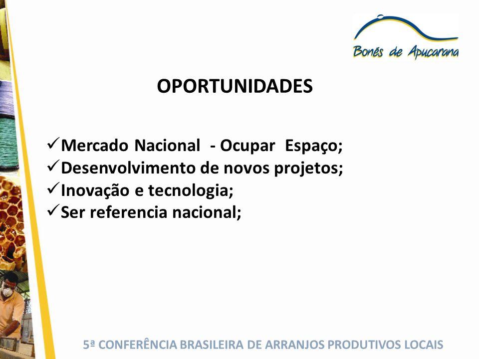 5ª CONFERÊNCIA BRASILEIRA DE ARRANJOS PRODUTIVOS LOCAIS OPORTUNIDADES Mercado Nacional - Ocupar Espaço; Desenvolvimento de novos projetos; Inovação e