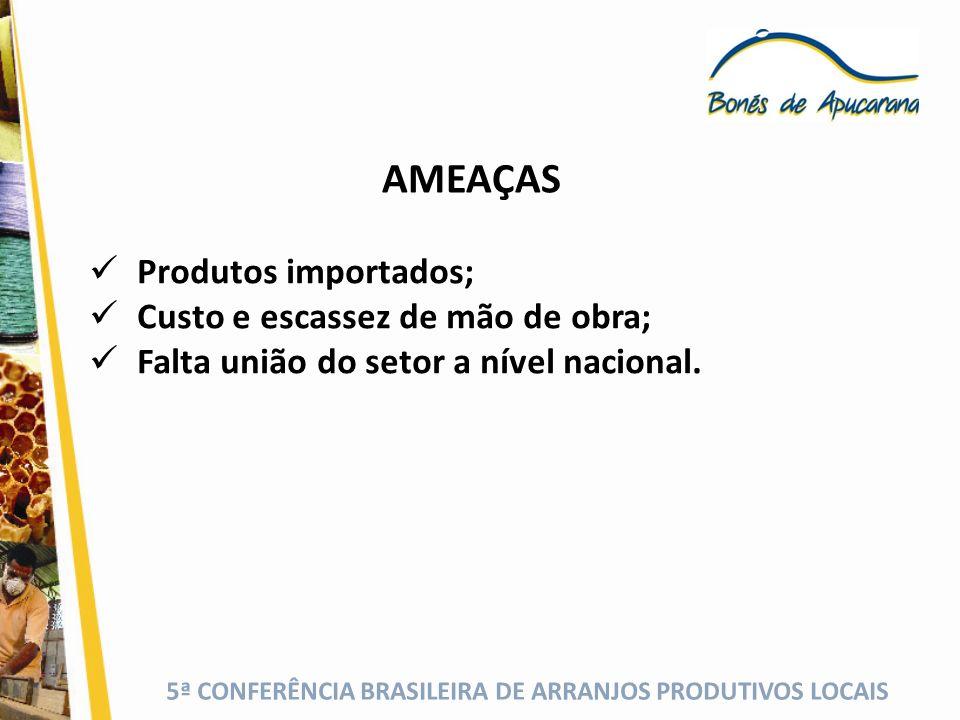 5ª CONFERÊNCIA BRASILEIRA DE ARRANJOS PRODUTIVOS LOCAIS AMEAÇAS Produtos importados; Custo e escassez de mão de obra; Falta união do setor a nível nac