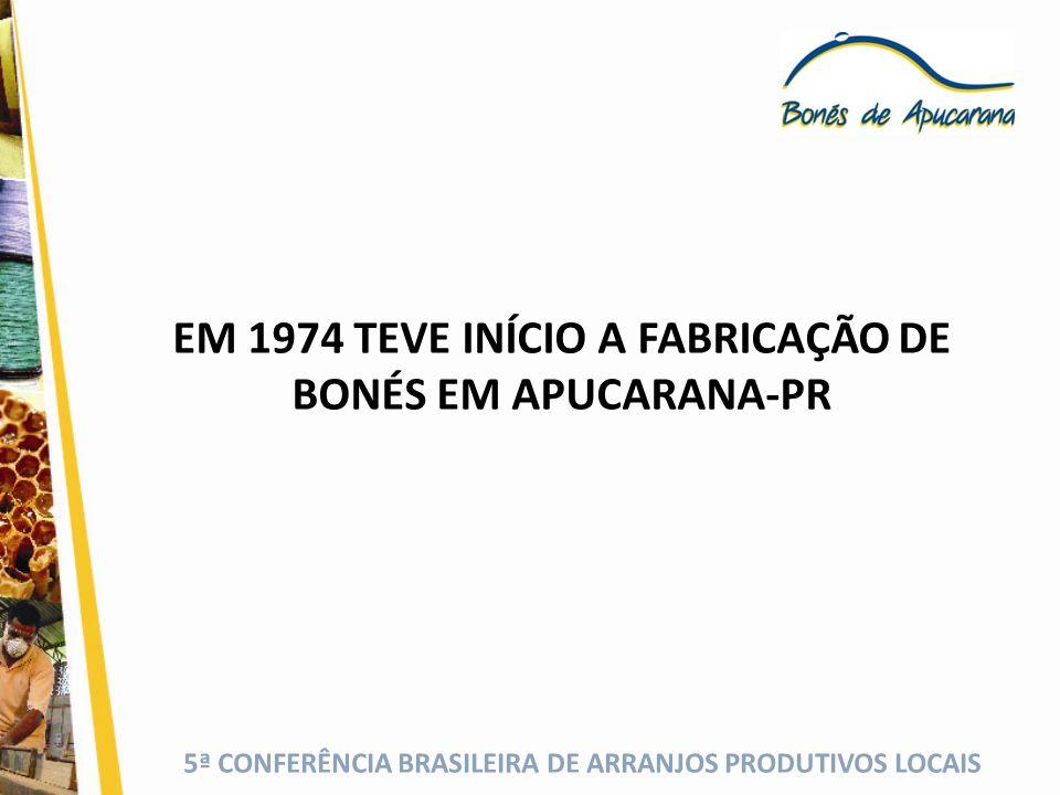 EM 1974 TEVE INÍCIO A FABRICAÇÃO DE BONÉS EM APUCARANA-PR