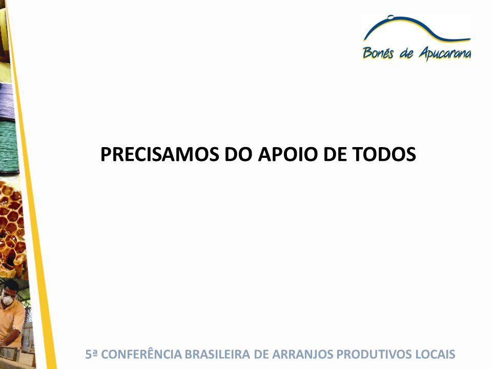 5ª CONFERÊNCIA BRASILEIRA DE ARRANJOS PRODUTIVOS LOCAIS PRECISAMOS DO APOIO DE TODOS