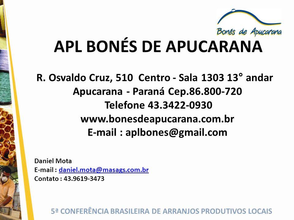 APL BONÉS DE APUCARANA R. Osvaldo Cruz, 510 Centro - Sala 1303 13° andar Apucarana - Paraná Cep.86.800-720 Telefone 43.3422-0930 www.bonesdeapucarana.