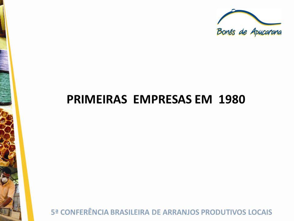 5ª CONFERÊNCIA BRASILEIRA DE ARRANJOS PRODUTIVOS LOCAIS PRIMEIRAS EMPRESAS EM 1980