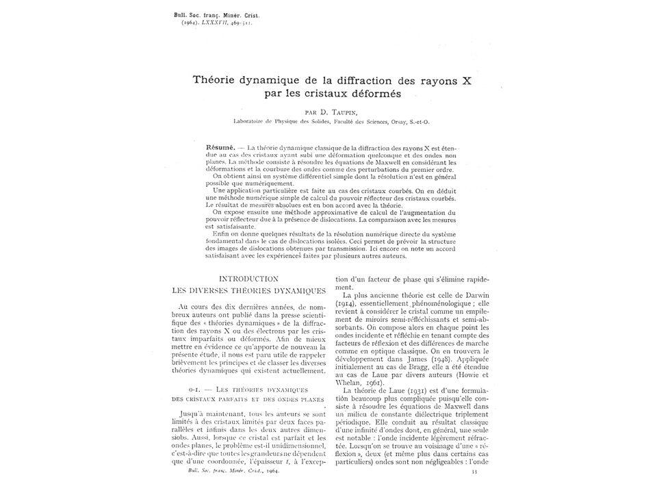 Teoria Dinâmica Situação semelhante à difração de elétrons Difração de Elétrons –Um feixe de entrada e múltiplos feixes de saída Difração de Raios-x –Um feixe de entrada e um feixe de saída Varreduras pelo espaço recíproco (Esfera de Ewald)