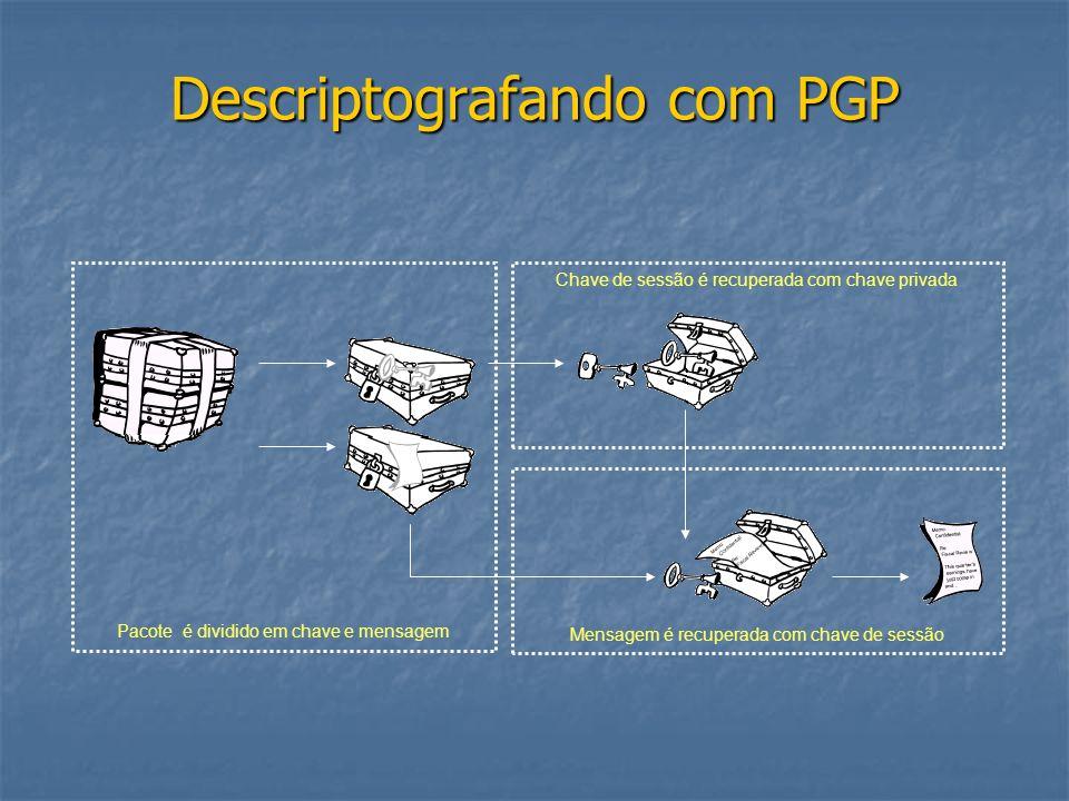 Descriptografando com PGP Pacote é dividido em chave e mensagem Chave de sessão é recuperada com chave privada Mensagem é recuperada com chave de sess