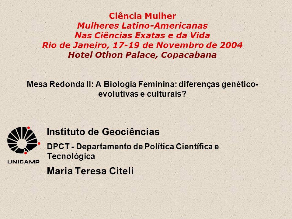 Ciência Mulher Mulheres Latino-Americanas Nas Ciências Exatas e da Vida Rio de Janeiro, 17-19 de Novembro de 2004 Hotel Othon Palace, Copacabana Mesa