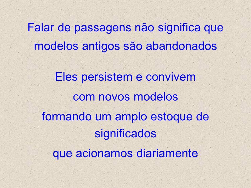 Falar de passagens não significa que modelos antigos são abandonados Eles persistem e convivem com novos modelos formando um amplo estoque de signific