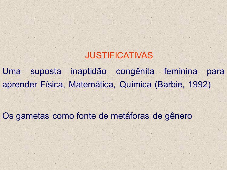 JUSTIFICATIVAS Uma suposta inaptidão congênita feminina para aprender Física, Matemática, Química (Barbie, 1992) Os gametas como fonte de metáforas de