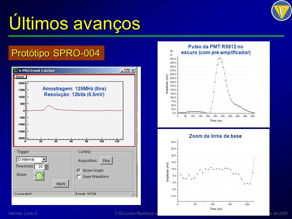 Últimos avanços Módulo NDAQ conceito e esquemáticos: CBPF layout: CBPF e Cadservice 8 camadas: 5 camadas de sinais 3 camadas de planos GND e PWR Status: layout da Cadservice pré-aprovado VI Encontro Neutrinos Angra – UEFS14-15 de Dezembro de 2009Herman Lima Jr
