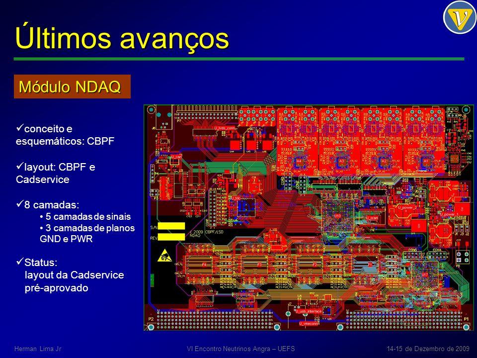 Últimos avanços Módulo NDAQ conceito e esquemáticos: CBPF layout: CBPF e Cadservice 8 camadas: 5 camadas de sinais 3 camadas de planos GND e PWR Statu