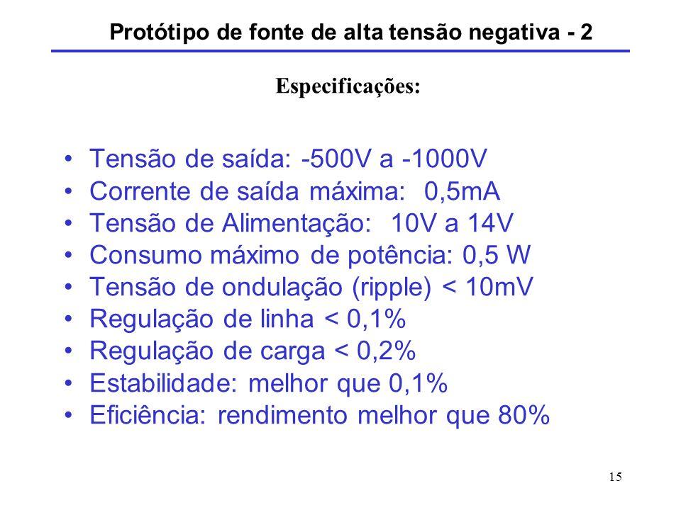 15 Tensão de saída: -500V a -1000V Corrente de saída máxima: 0,5mA Tensão de Alimentação: 10V a 14V Consumo máximo de potência: 0,5 W Tensão de ondula