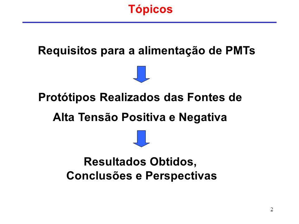 2 Tópicos Resultados Obtidos, Conclusões e Perspectivas Protótipos Realizados das Fontes de Alta Tensão Positiva e Negativa Requisitos para a alimenta
