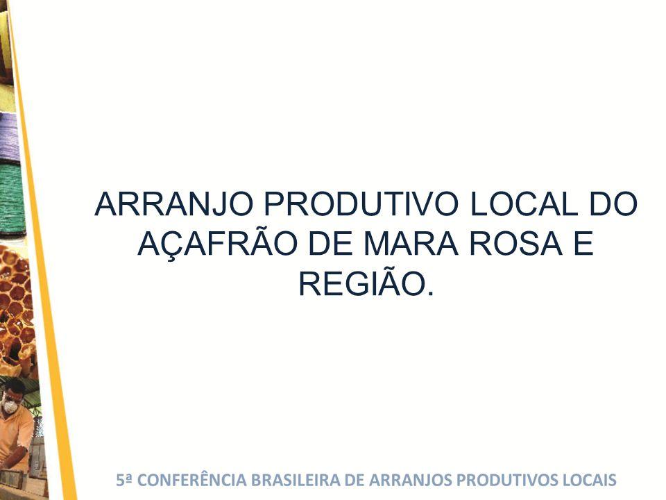 ARRANJO PRODUTIVO LOCAL DO AÇAFRÃO DE MARA ROSA E REGIÃO.